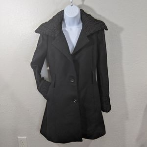 Zara Wool 100% Rouched Single Breasted Pea Coat